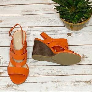 Market & Spruce Orange Strappy Wedges